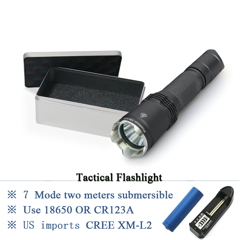 IPX-8 Waterproof torch lanterna Military tactical flashlight cree xm l2 hunting flash light equipment torch linterna use 18650 7 mode tactical flashlight cree led linternas xm l2 torch ipx 8 waterproof cr123a or 18650 rechargeable battery hunting lights