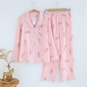 Image 1 - 100% ちりめんコトンパジャマ女性新鮮な羽パジャマセット長袖春 pijamas mujer カジュアル緩いホームパジャマ女性