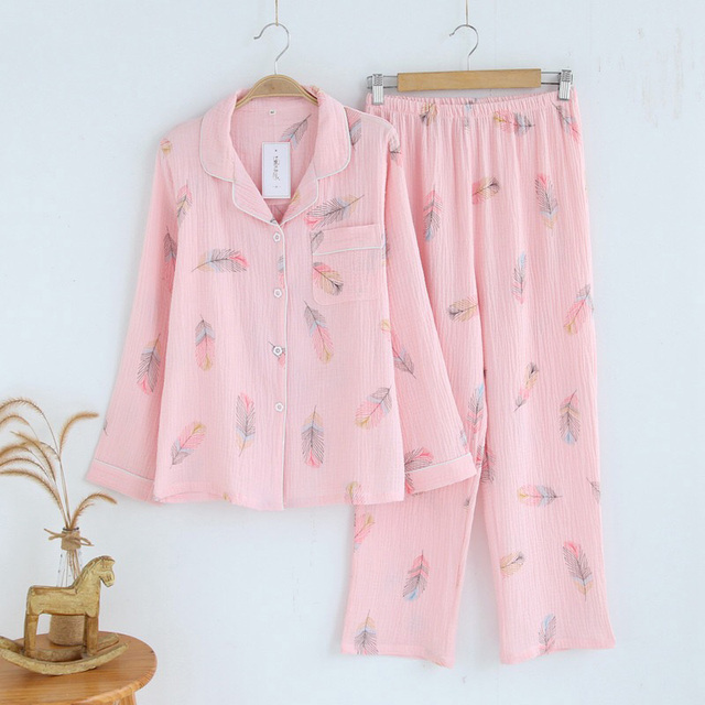 100% ちりめんコトンパジャマ女性新鮮な羽パジャマセット長袖春 pijamas mujer カジュアル緩いホームパジャマ女性