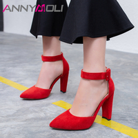 ANNYMOLI Women Shoes High Heels Buckle Chunky High Heels Red Bridal Shoes Sexy Pointed Toe Ankle Strap Pumps Ladies Plus Size 43