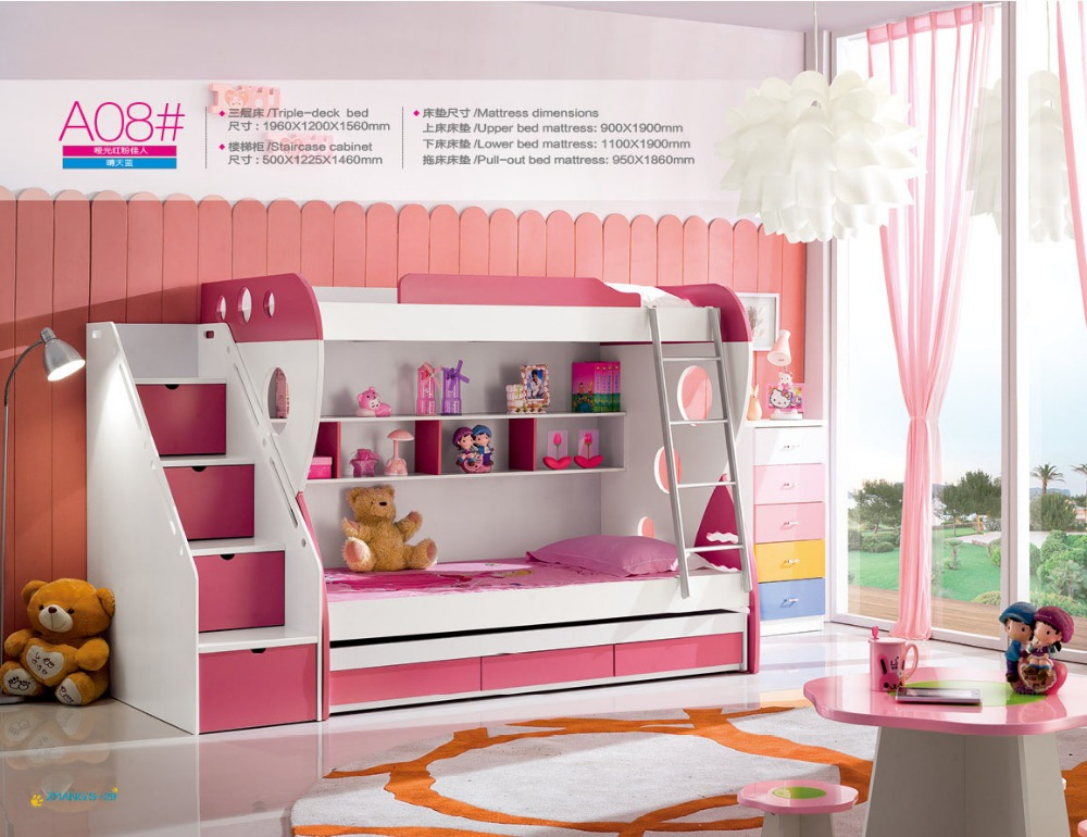 2018 Роскошные детские кровати новый деревянный двухъярусная ребенок специальное предложение дерево горит Enfants Meuble детский сад мебель с лест