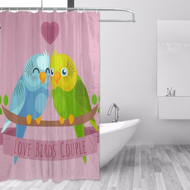 152x183cm Shower Curtain Waterproof With Hooks Mildew Mold Resistant  Polyester Shower Curtains Cute Owls Couple Bathtub