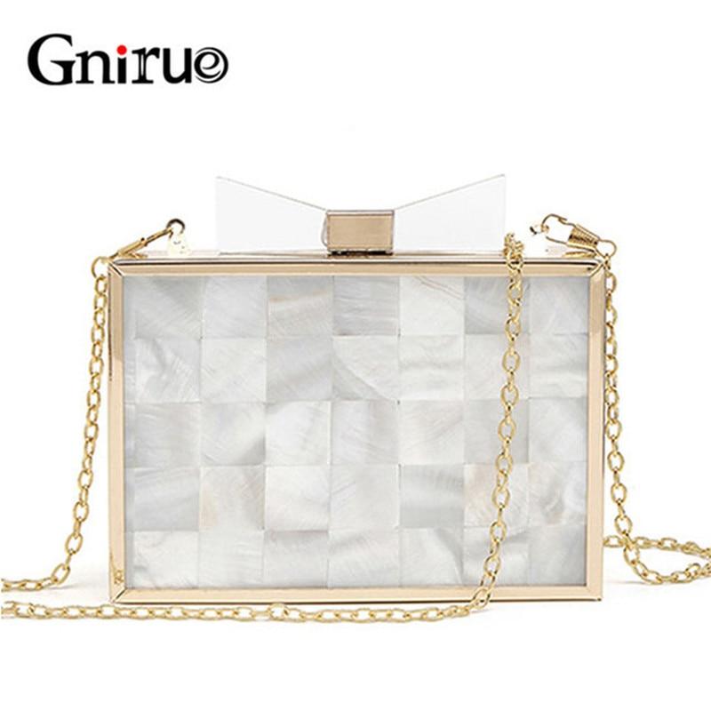 цена на Luxury Design Mini Shell Transparent Bow Tie Acrylic Evening Bag Fashion Women Shoulder Crossbody Party Handbag And Wallet