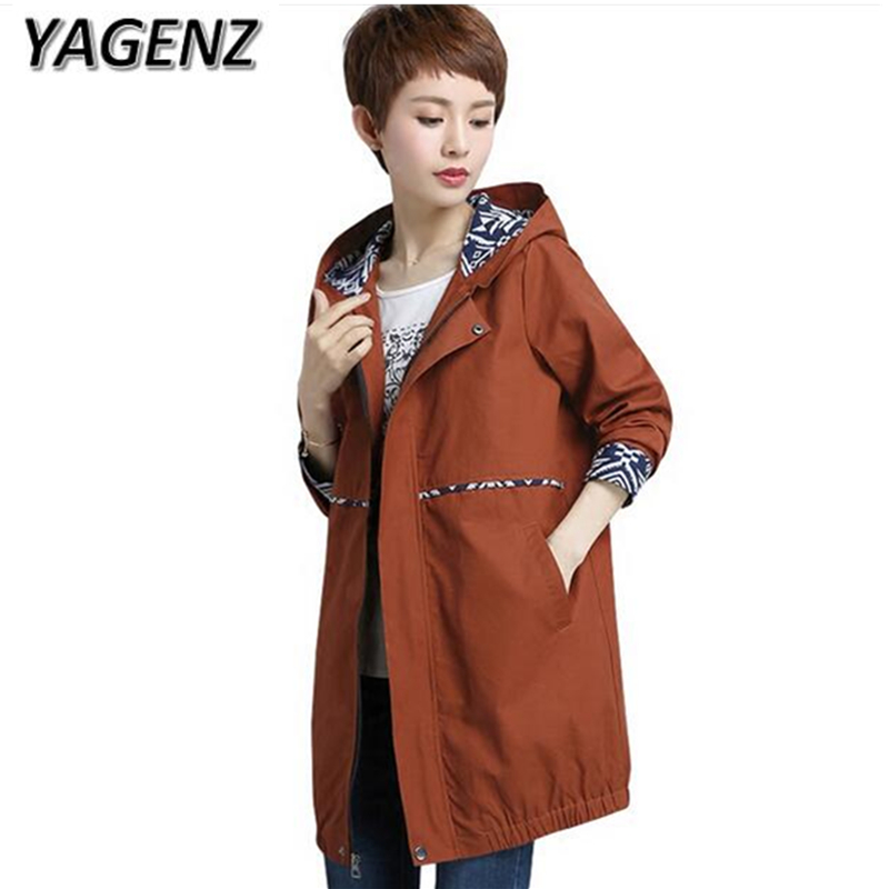 Female Windbreaker Plue size 5XL 6XL Middle-aged Mother Loose Hooded Outerwear Casual Tops Long sleeves Slim Autumn Trench Coat