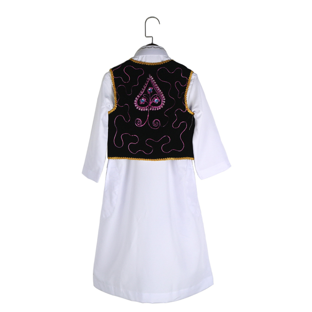 Children Muslim Clothing Set White Long Turtleneck Shirt With Embroidery Pleuche Bead Vest Formal Clothing Suits For Kids