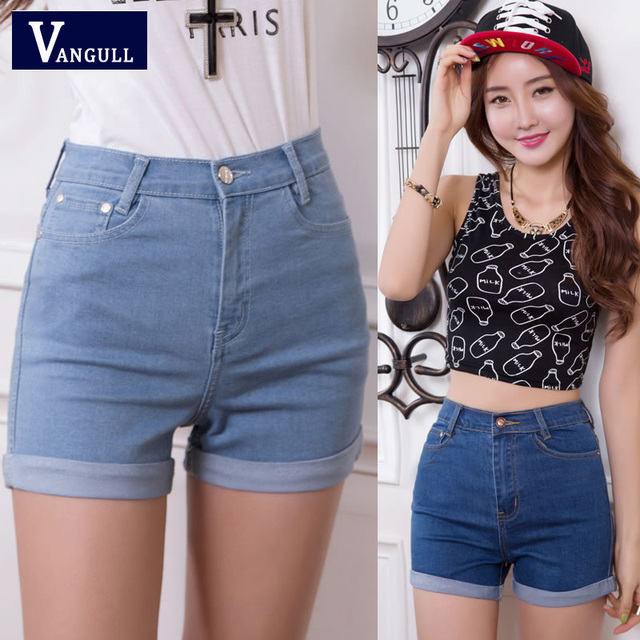 8f870144a946 Moda mujer pantalones vaqueros de verano de cintura alta pantalones cortos  de mezclilla elásticos Slim coreano Casual Mujer Pantalones cortos Venta ...