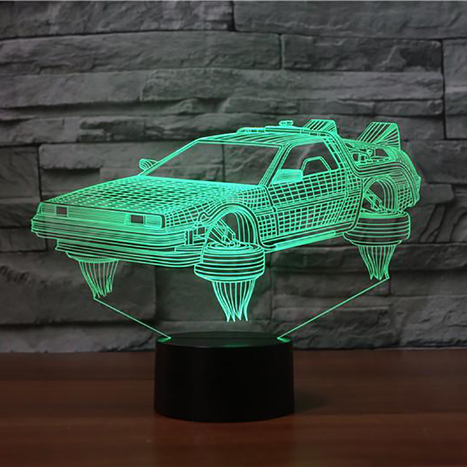 Interesting 3D Sports Car Table Lamp Creative 7 Colors Change Led Vehicle Night Light USB Bedroom Light Fixture Home Decor Gifts 3d luminous ice hockey player shape led table lamp 7 colors changing home living room decor light fixture baby sleep night light