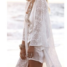 Ladies Fringe Lace Long Kimono Cardigan Tops Women's Sexy Cover Up недорого