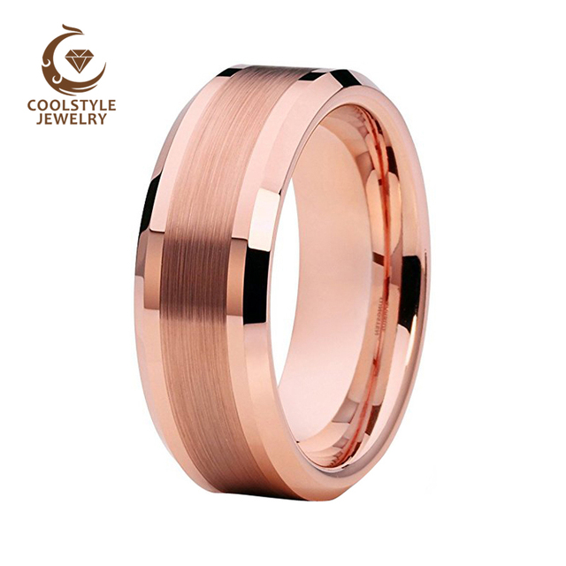 0e2335cd24f8c US $10.99 |Best Selling Rose Gold Color Plated Tungsten Carbide Wedding  Band For Men Women Enagement Ring Beveled Edges Brushed Polished -in  Wedding ...