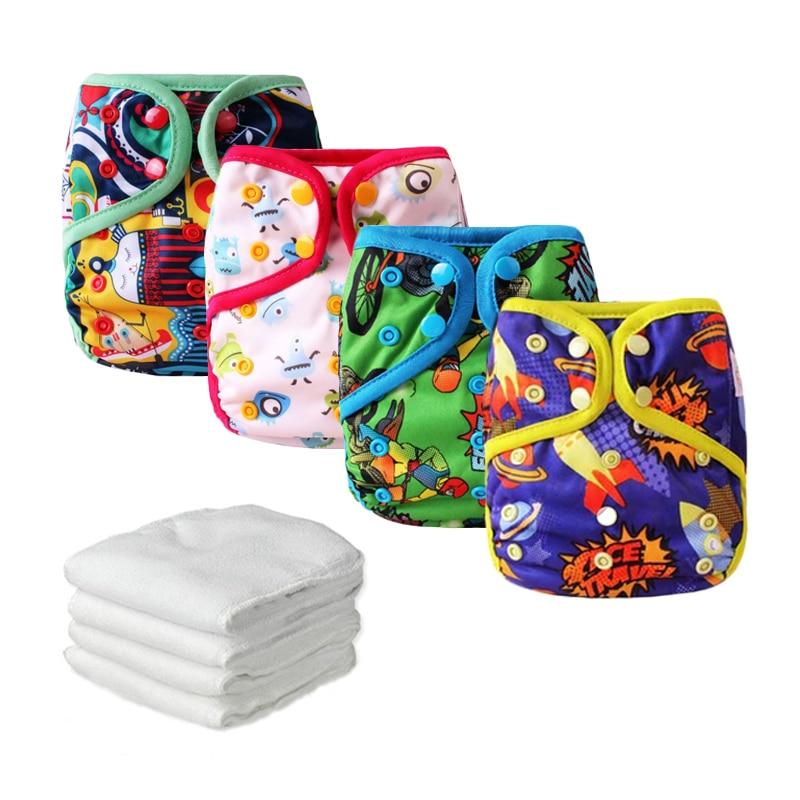 4ks dětské plátěné plátěné plátno neprodyšné opakovaně použitelné kapesní pláště novorozenecké nepromokavé plátěné pleteniny se 4ks mikrovláknovými vložkami