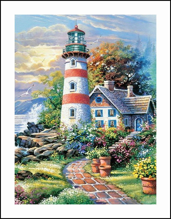 Beacon and House Diamond Embroidery 5D Painting Cross Stitch Mosaic Pattern Square Rhinestone needlework gift Home Decor G540