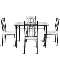 5 Pcs Tempered Glass Steel Tabletop Dining Set Modern Square Table and Chairs Dining Room Sets HW52015