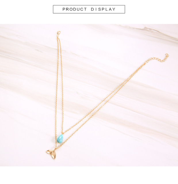 Gold Chain Whale Water Drop Necklace