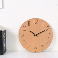 "12"" Simple Large Decoration Wood Mute Digital Living Room Silent Wall Mounted Number Big European Battery-operated Wall Clock"
