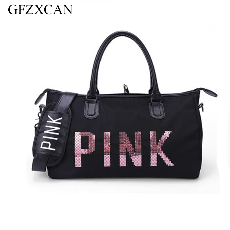 2018 new pink sequin letter fitness travel bag large capacity waterproof shoulder