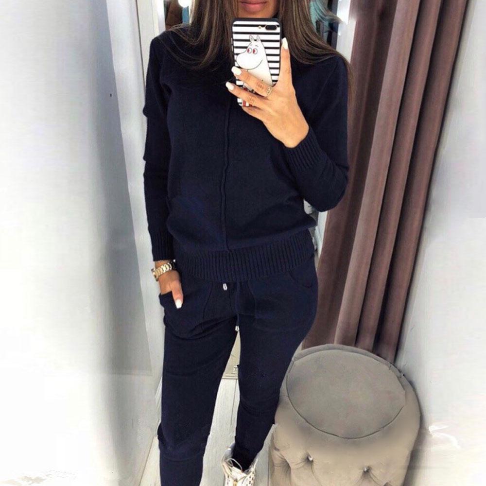 MVGIRLRU élégant tricot costume femmes deux pièces ensembles haute encolure ligne chandail + pantalon survêtement femelle tenues - 3