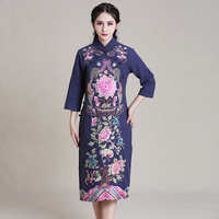 2019 chinese dress cheongsam qipao cheongsam modern cotton and linen cheongsam dress gown traditional embroidery phoenix
