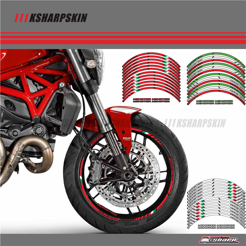 12 X Thick Edge Outer Rim Sticker Stripe Wheel Decals FIT All DUCATI MONSTER 695 696 796 1100 1100S 797 821 795