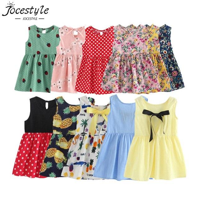 Crianças Veste Crianças Menina Sem Mangas Flor de Impressão do Algodão e Linho Vestido floral Bebê Menina vestidos de Verão para meninas