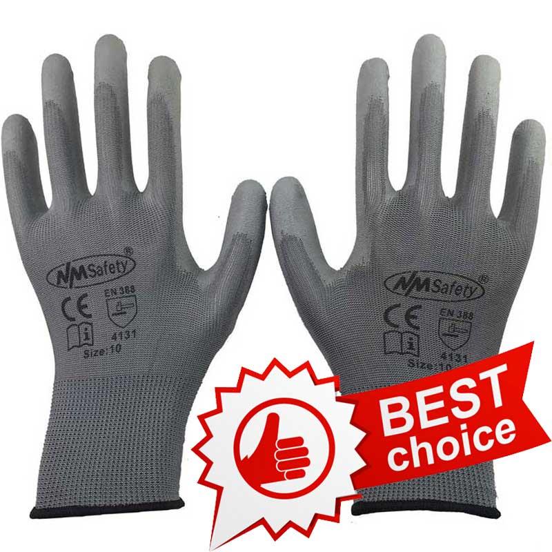 NMSafety 6 Pairs Grey PU Safety Work Protective Gloves Work Gloves Safety Glove