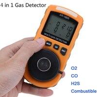 4 в 1 Многофункциональный детектор газа кислорода O2 сероводород H2S Угарный газ CO горючих монитор детектор утечки газа газовый анализатор