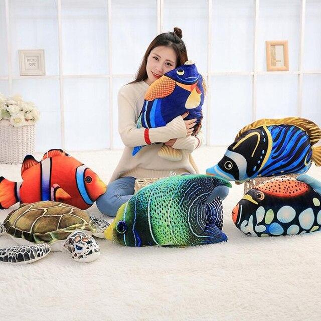 3D Simulação Oceano Peixes Tropicais Abraço Travesseiro Almofada Brinquedo de Pelúcia Dos Desenhos Animados Travesseiro Tartaruga Decoração de Casa de Boneca Criança Presente de Aniversário