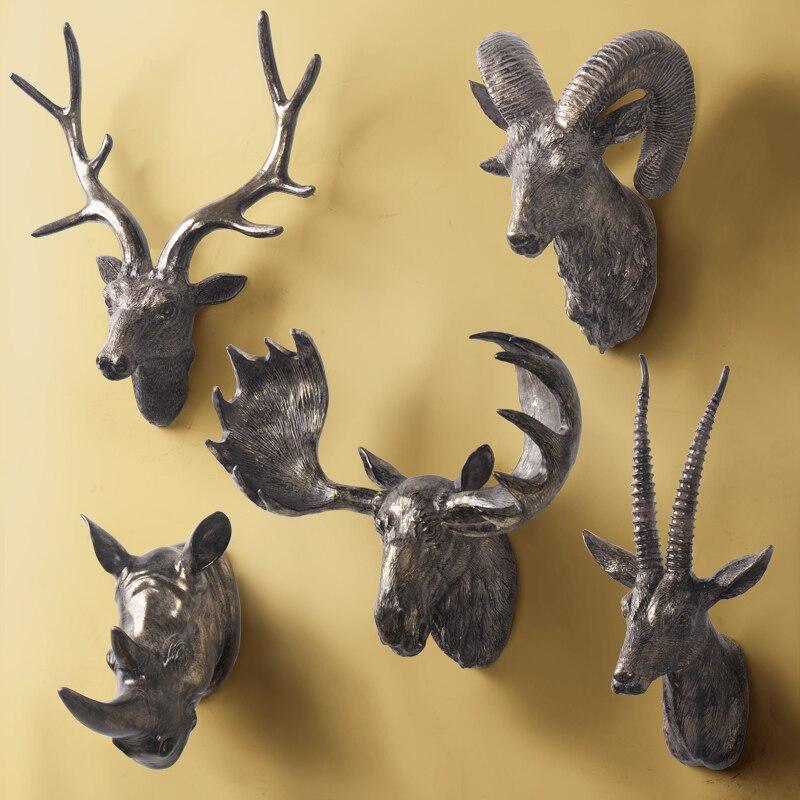 Animal Wall Decor Deer/sheep//Rhinoceros/Elk Resin White/Black/Grey ...