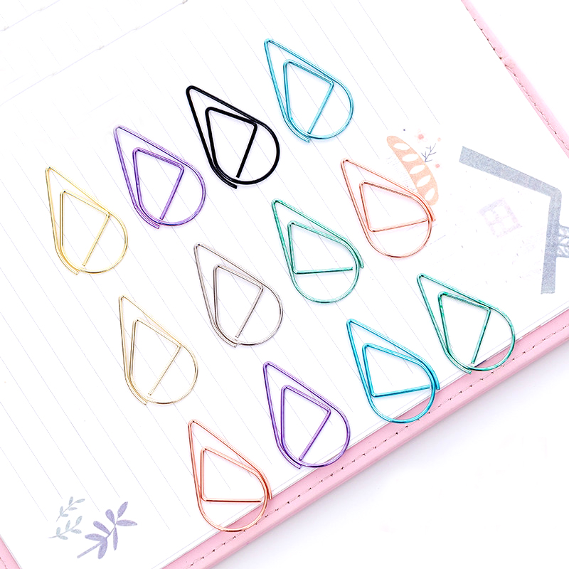12 PCS/Set Metal Material Drop Shape Paper Clips Gold Silver Color Funny Kawaii Bookmark Office School Stationery Marking Clips