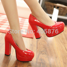 Womens Chunky High Heels Shoes 2014 New Faux Leather Womens Pumps Platform Fashion Wedding Bridal Ladies Shoes Wholesales