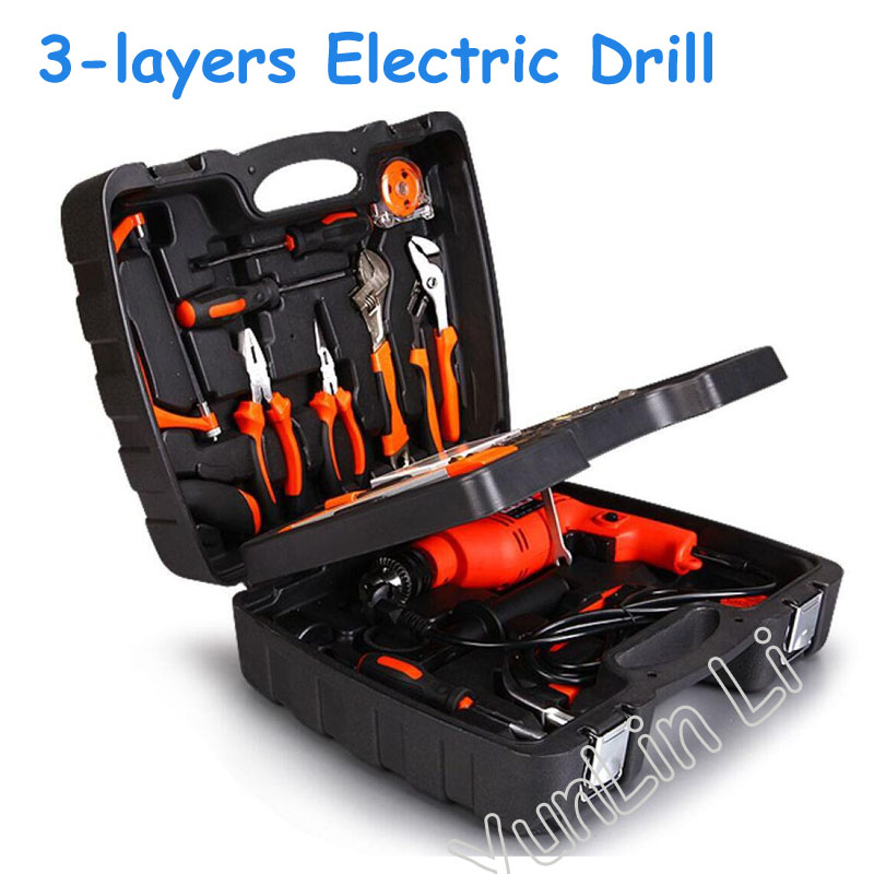138pcs Three Layers Electric Drill Multi-Function Power Tools Kit Electric Impact Drill Set Home Drill Combination DIY Tools multi purpose impact drill for household use la414413 upholstery drilling wall percussion impact drill set power tools 220v 810w