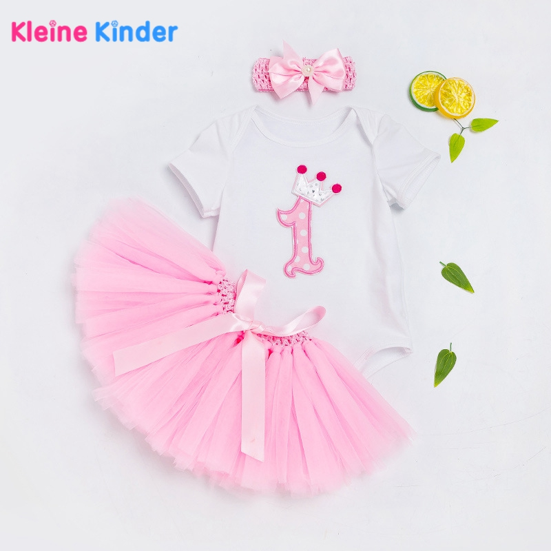 2018 Summer 3pcs Baby Clothing Sets Cotton Short Sleeve Romper Bodysuit+Tutu Skirt+Headband Newborn Baby Girl 1st Birthday Suit baby 1 2 st birthday princess clothing sets purple crown romper and tutu skirt shoes infantil newborn girl 0 24 month clothes
