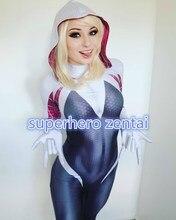 3D tisk Spandex Spiderman výstřižek horký prodej Spider Gwen Stacy kostým Custom Halloween Cosplay Žena zentai Suit No Mask