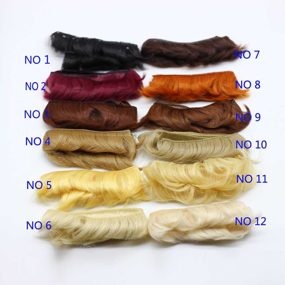 5cm Doll short Curly <b>Straight</b> DIY fringe <b>hair</b> natural brown black ...