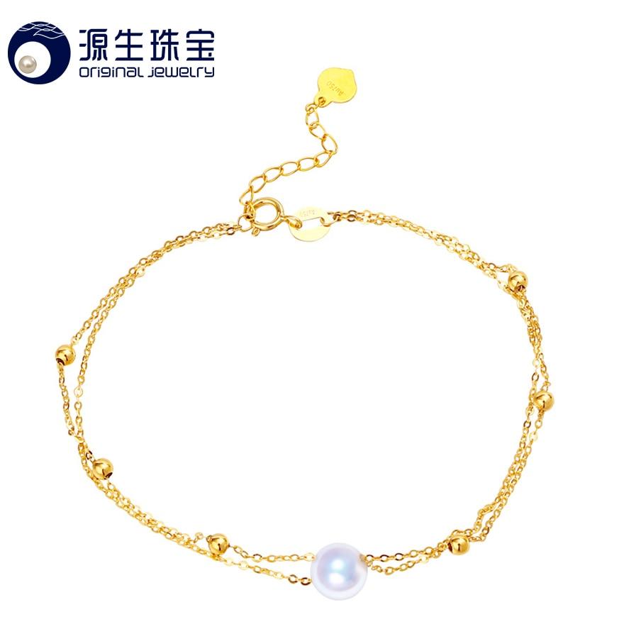 [YS] New Arrival 6-6.5mm White Natural Genuine AAA Akoya Pearl Bracelet 18k Gold Bracelet цены онлайн