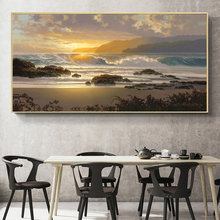 Oil Pianting Posters and Prints Wall Art Canvas Painting Abstract Seascape Sunset Pictures for Living Room Home Decor No Frame