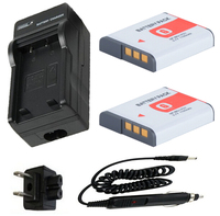 Battery 2 Pack+Charger for Sony Cyber shot DSC H3 H7 H9H10 H20 H50 H55 H70 H90 HX5V HX7V HX9V HX10V HX20V HX30V Digital Camera
