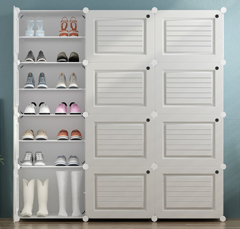 White Stripe Shoes Storage Shoe Rack Hallway Cabinet Organizer Holder Multi Layers Assemble Shoes Shelf Rack Home Furniture B505