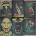 American horror stories, nostalgic posters, family bar decorations.