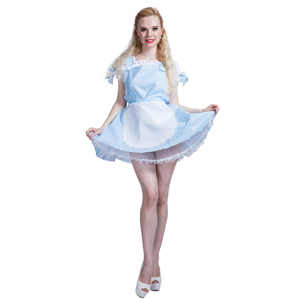 women sexy dorothy french maid costume dress poor girl adult female cosplay fancy dress outfit clothing halloween costumes - Dorothy Halloween Costume Women