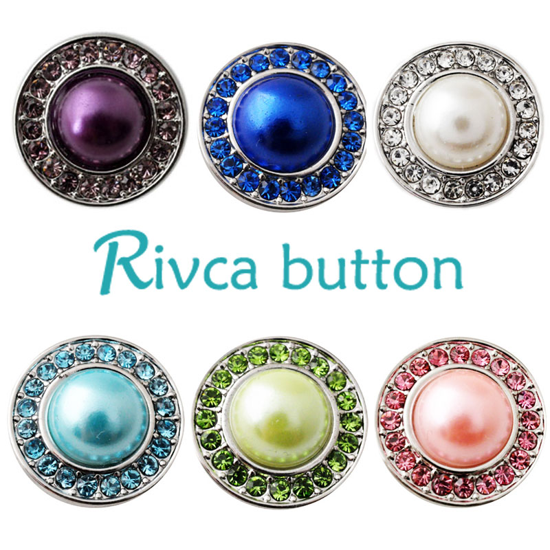 D02126 Free Shipping Hot wholesale New Rivca Snap Buttons Fit Snap Bracelet Colorful Rhinestone DIY Snaps Jewelry