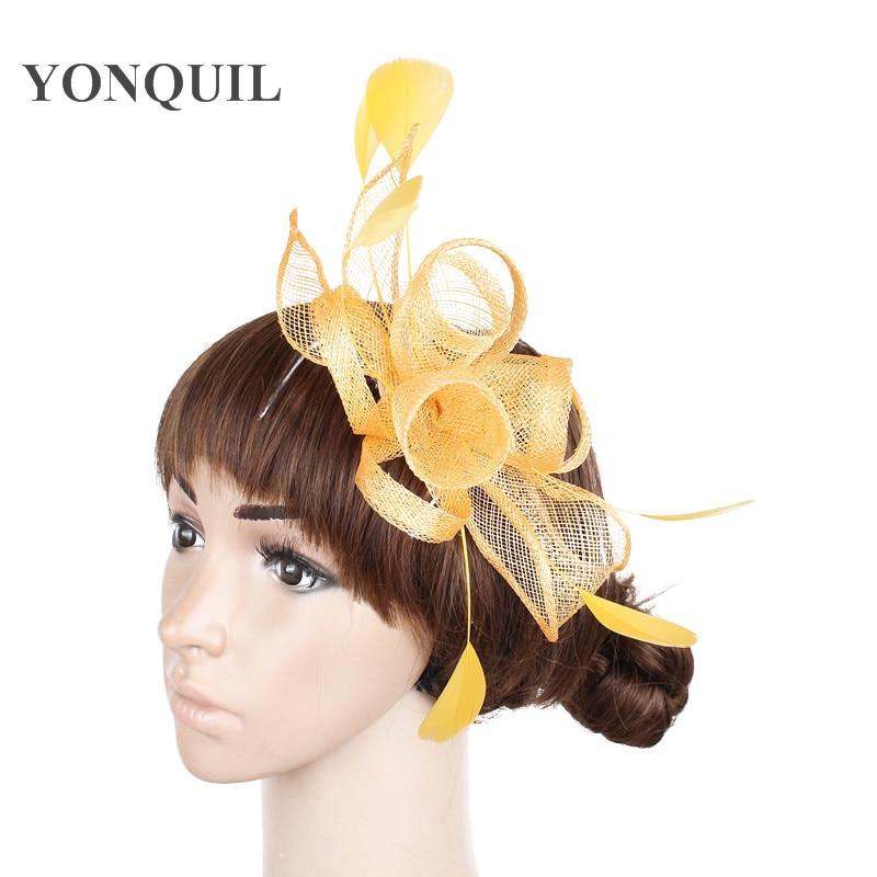 New style Yellow feather fascinators hats lady elegant Women sposa wedding headwear party church headpiece on hair combs SYF231 headpiece
