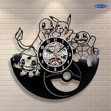 Pokemon Gift Wall Clock Vinyl Record Art Decor Vintage reloj,wall clock  saat alarm clock reloj large wall clock duvar saati