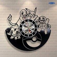 بوكيمون هدية ساعة الحائط الفينيل الفن ديكور خمر reloj ، الساعة سات منبه reloj ساعة الحائط الكبيرة duvar الساعاتي