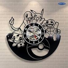 ポケモンのギフト壁時計ビニールレコードアートの装飾ヴィンテージリロイ、壁時計saat目覚まし時計リロイ大壁時計duvar saati