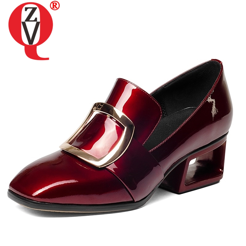 ZVQ 2019 new arrival fashion footwear female metal decoration shoes square toe woman engagement mature career