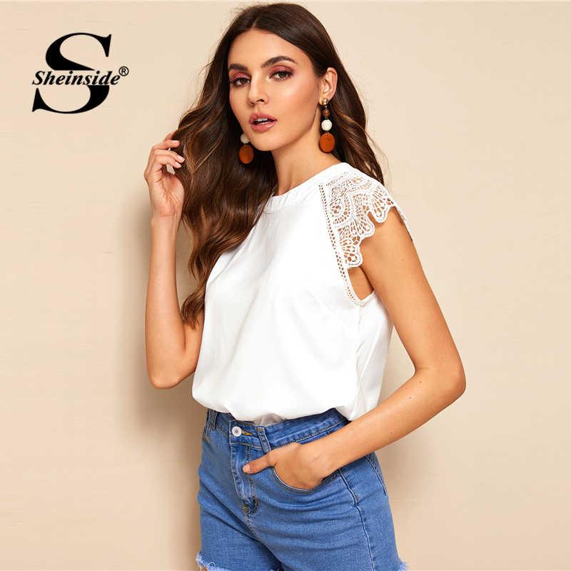 Sheinside элегантный контраст выдолбленные кружевная блузка для женщин Лето 2019 г. Прочная чашка рукавом Блузки для малышек Дамы Белый повседневное