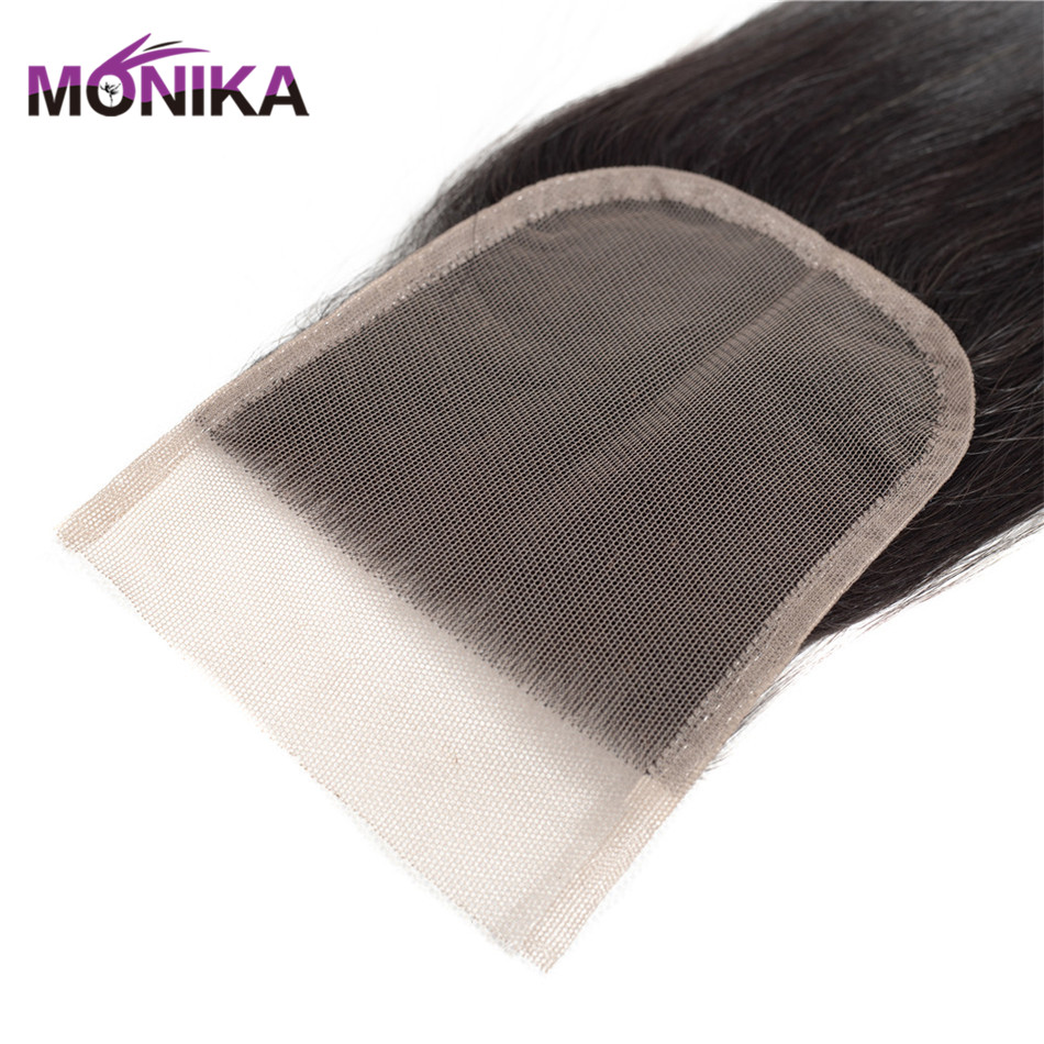 Monika Hair Brazilian Straight Hair Lace Closure Free/Middle/Three Part Human Hair 4x4 Swiss Lace Front Closure