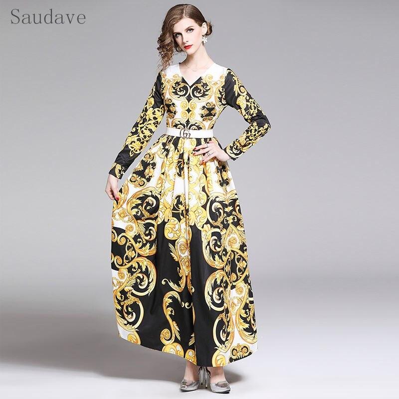 New Arrived Spring Women Dresses Elegant Print Long Dress V neck Vintage Shirt Dresses Plus Size Casual Party Lady Vestidoes