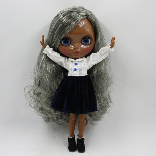 TBL Neo Blythe Doll Grey White Hair Jointed Body