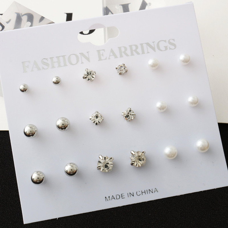 Stud-Earrings Simulated-Pearl-Ball Crystal Square Women Jewelry Silver-Color Fashion
